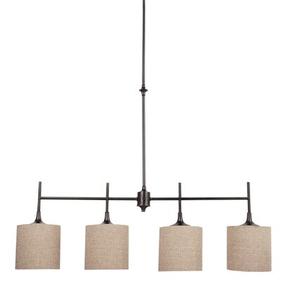 Foland 4-Light Kitchen Island Pendant Base Finish: Burnt Sienna, Shade Color: Beige