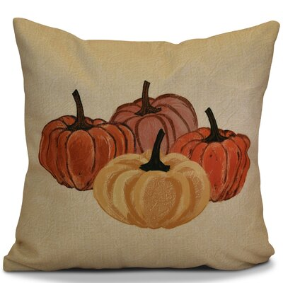 Miller Paper Mache Pumpkins Outdoor Throw Pillow Size: 18 H x 18 W x 2 D, Color: Yellow