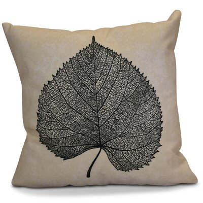 Miller Leaf Study Outdoor Throw Pillow Size: 18 H x 18 W x 2 D, Color: Black