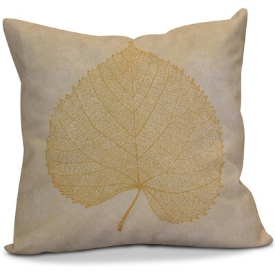 Miller Leaf Study Outdoor Throw Pillow Size: 16 H x 16 W x 2 D, Color: Gold