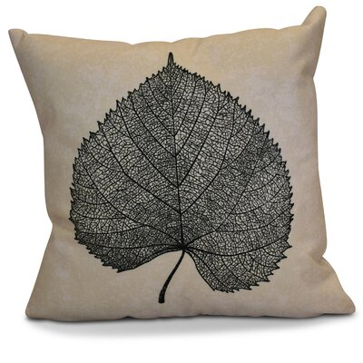 Miller Leaf Study Floral Throw Pillow Size: 16 H x 16 W x 2 D, Color: Black