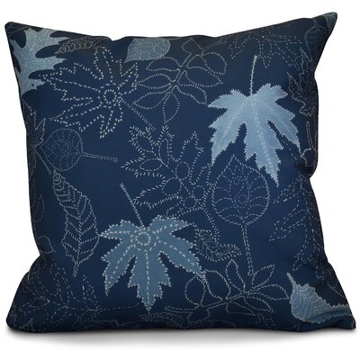 Miller Dotted Leaves Floral Throw Pillow Size: 16 H x 16 W x 2 D, Color: Blue