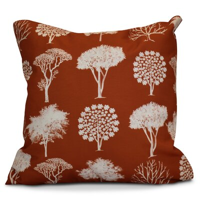 Miller Field of Trees Floral Outdoor Throw Pillow Size: 16 H x 16 W x 2 D, Color: Rust
