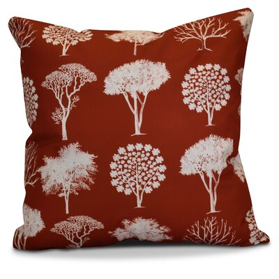 Miller Field of Trees Floral Outdoor Throw Pillow Size: 18 H x 18 W x 2 D, Color: Dark Rust