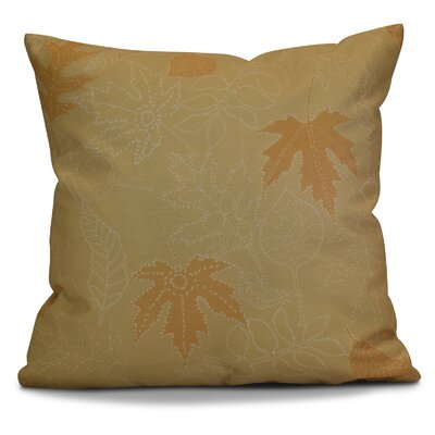 Miller Dotted Leaves Floral Outdoor Throw Pillow Size: 18 H x 18 W x 2 D, Color: Gold