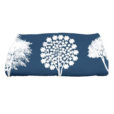 Field of Trees Floral Print Bath Towel Color: Blue