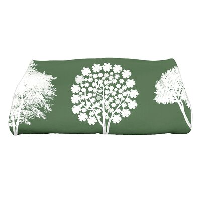 Field of Trees Floral Print Bath Towel Color: Green