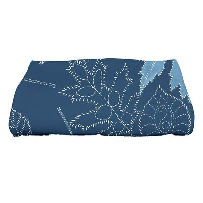 Miller Floral Print Bath Towel Color: Blue