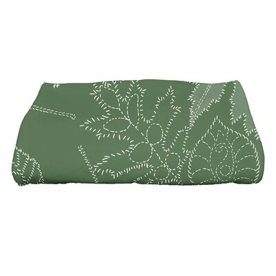Miller Floral Print Bath Towel Color: Green