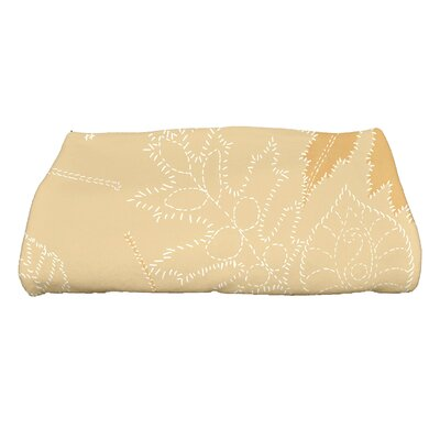 Miller Floral Print Bath Towel Color: Gold