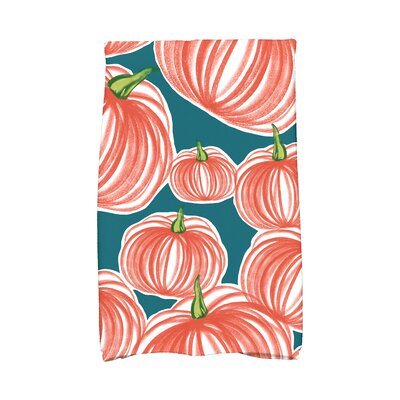 Miller Pumpkins-A-Plenty Holiday Print Hand Towel Color: Teal