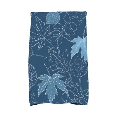 Miller Dotted Leaves Floral Print Hand Towel Color: Blue