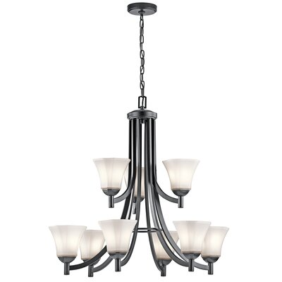Huntington 9-Light Shaded Chandelier Finish: Black