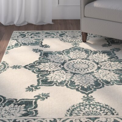 Ravenwood Beige/Green Area Rug Rug Size: Rectangle 53 x 76