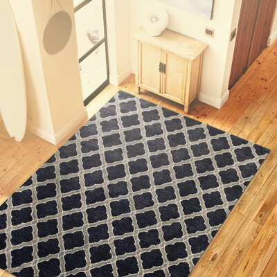 Hartwell Blue Geometric Wool Hand-Tufted Area Rug