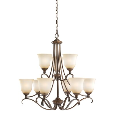 Lee 9-Light Shaded Chandelier Finish: Russet Bronze, Shade Color: Ginger