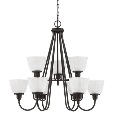 Hamlett 9-Light Shaded Chandelier Finish: Mystic Black