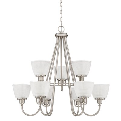 Hamlett 9-Light Shaded Chandelier Finish: Brushed Nickel