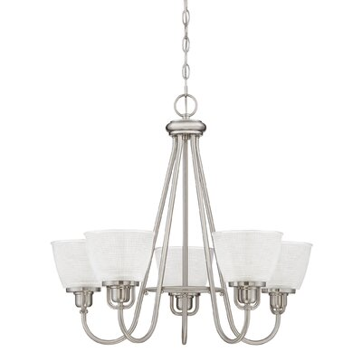 Hamlett 5-Light Shaded Chandelier Finish: Brushed Nickel