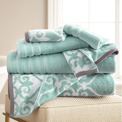 Lattice Rod 6 Piece Towel Set Color: Aqua