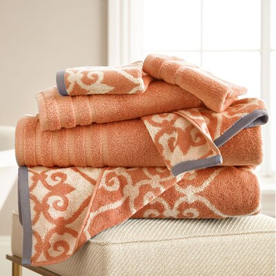 Lattice Rod 6 Piece Towel Set Color: Coral