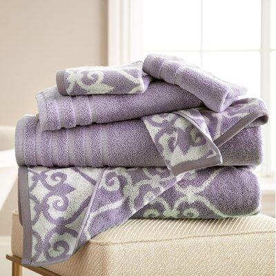 Lattice Rod 6 Piece Towel Set Color: Grey Lavender
