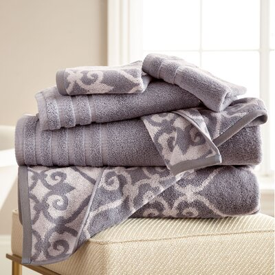 Lattice Rod 6 Piece Towel Set Color: Ash Gray