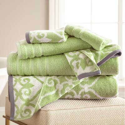 Lattice Rod 6 Piece Towel Set Color: Sage Green