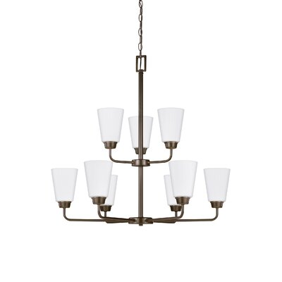Ardaghmore 75W 9-Light Shaded Chandelier Finish: Heirloom Bronze