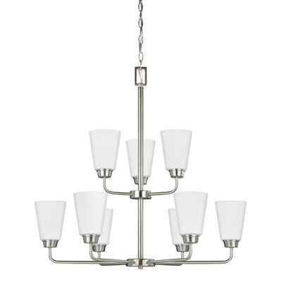 Ardaghmore 75W 9-Light Shaded Chandelier Finish: Brushed Nickel