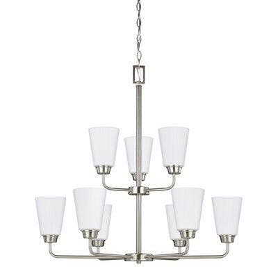 Ardaghmore 9-Light Shaded Chandelier Finish: Brushed Nickel