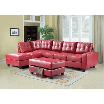 Muttontown Reversible Sectional Upholstery: Red
