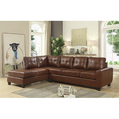 Muttontown Reversible Chaise Sectional Upholstery: Brown