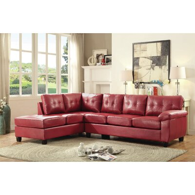 Old Westbury Reversible Chaise Sectional Upholstery: Red
