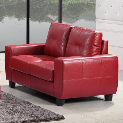 Muttontown Loveseat Upholstery: Red