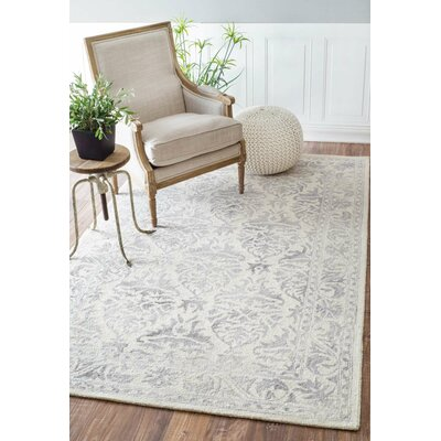Mount Salem Hand-Woven Wool Light Gray Area Rug Rug Size: Rectangle 7'6