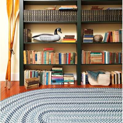 Lettie Capeside Blue Area Rug Rug Size: Oval 7 x 9