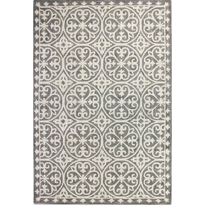 Hand-Tufted Grey Area Rug Rug Size: 36 x 56