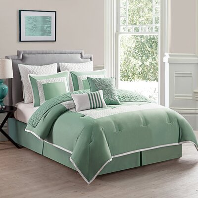 Corte Comforter Set Size: Twin, Color: Sage Green