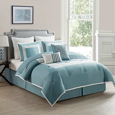 Corte Comforter Set Color: Blue, Size: King