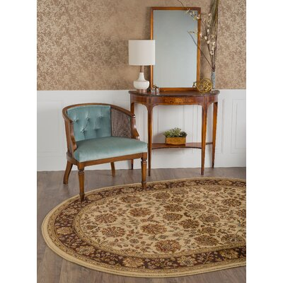 Brighton Beige Floral Area Rug Rug Size: Oval 67 x 96
