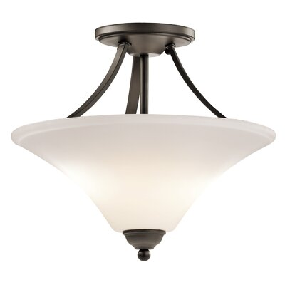 Bourne 2-Light Steel Semi Flush Mount Finish: Olde Bronze