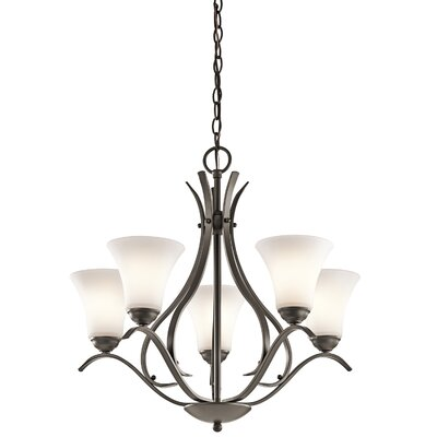 Bourne 5-Light Shaded Candle-Style Chandelier Finish: Olde Bronze