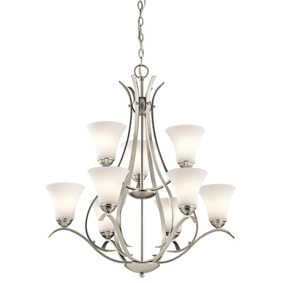 Bourne 9-Light Shaded Candle-Style Chandelier Finish: Brushed Nickel