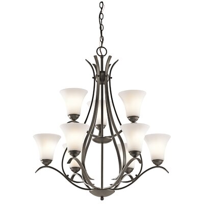 Bourne 9-Light Shaded Candle-Style Chandelier Finish: Olde Bronze