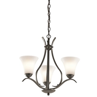 Bourne 3-Light Shaded Chandelier with Bell Shade Finish: Brushed Nickel