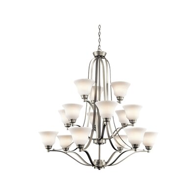 Avilla 15-Light Shaded Chandelier Finish: Brushed Nickel