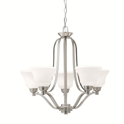 Avilla 5-Light Shaded Chandelier Finish: Brushed Nickel