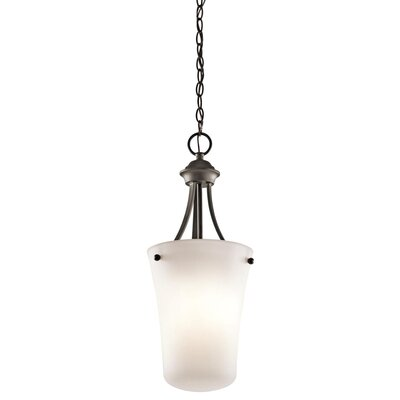 Bourne 1-Light Mini Pendant with Etched Glass Shade Finish: Olde Bronze
