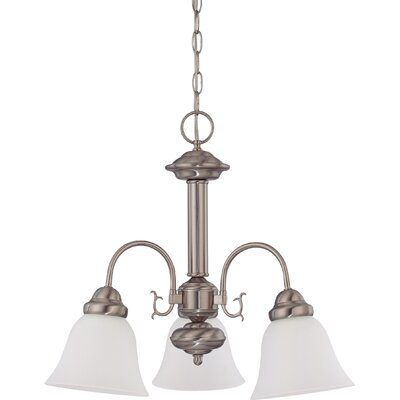 Gurney 3-Light LED Shaded Chandelier Finish: Brushed Nickel